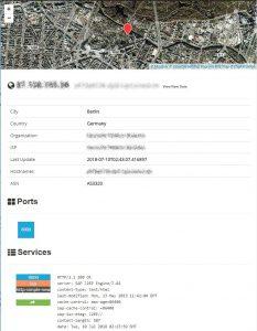 Hack Zielauswahl: Ergebnisseintrag in Shodan mit Details